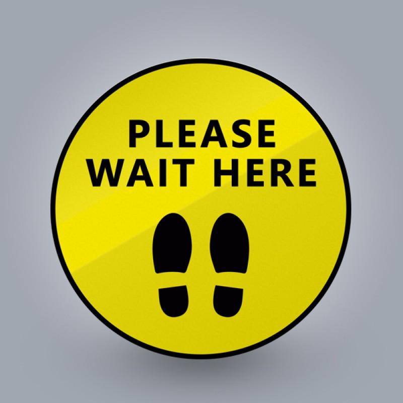 Please Wait Here Footprints Sticker